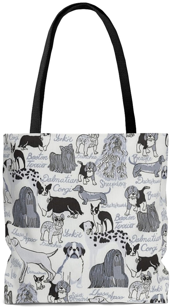 Exclusive Dog Art Tote Les Chiens Dogs Always - Classic Dog Breeds - Choice of Tall Tote or oversized Weekender Bags - personalize - Daisey's Doggie Chic
