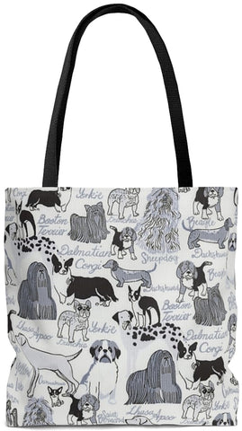 Custom Art Tote - Les Chiens - Dogs Always - oversized Weekender Bags - Daisey's Doggie Chic