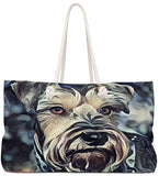 Exclusive Dog Art Tote - Salt&Pepper Schnazzy Schnauzzer - Dog Painting - Choice of oversized Weekender or Tall Tote Bags - Personalize it - Daisey's Doggie Chic