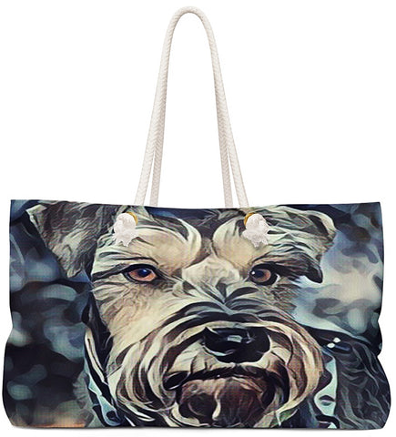 Custom Art Tote - Salt&Pepper Schnazzy Schnauzzer - Dog Painting - oversized Weekender Bags - Personalize it - Daisey's Doggie Chic