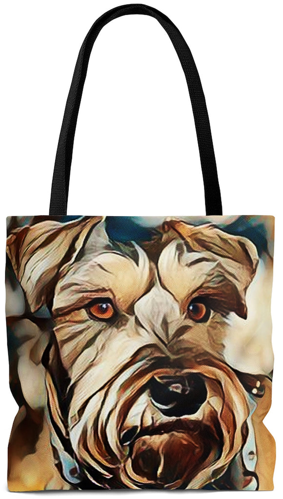 Exclusive Dog Art Tote - Chocolate Schnauzzi Schnauzzer - Dog Painting - Choice of Tall Tote or Weekender Bags - Personalize it - Daisey's Doggie Chic