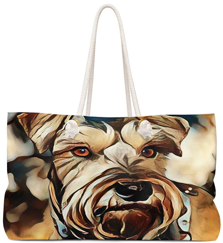 Custom Art Tote - Chocolate Schnauzzi Schnauzzer - Dog Painting - oversized Weekender Bags - Personalize it - Daisey's Doggie Chic