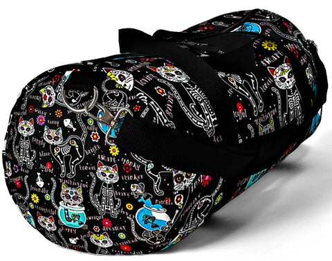 Exclusive Cat Art Duffel Bag - Black Spooky Skeletal Cats Inspirations - Sugar Skull Theme - Sizes S or L - personalize - Daisey's Doggie Chic