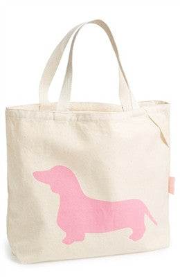 "Romy & Jacob ""Dachshund"" Organic Designer Tote Bag Available in Color Pink - Daisey's Doggie Chic - 1"