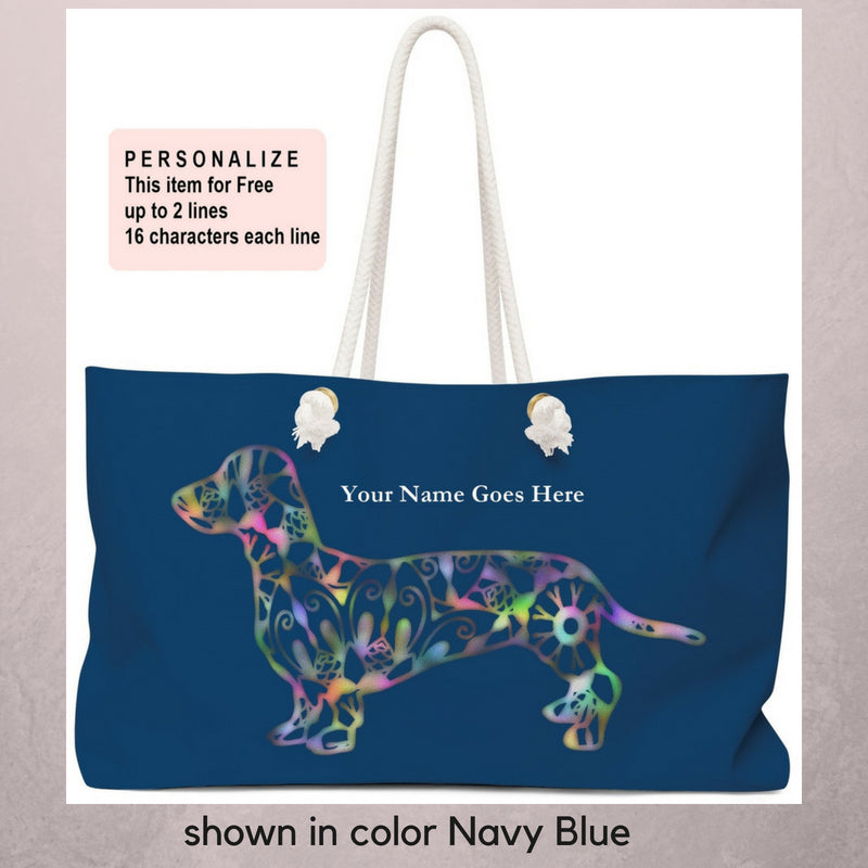 A Dachshund Weekender Bag - Color Navy Blue - Oversized Tote – Free Personalization - Daisey's Doggie Chic