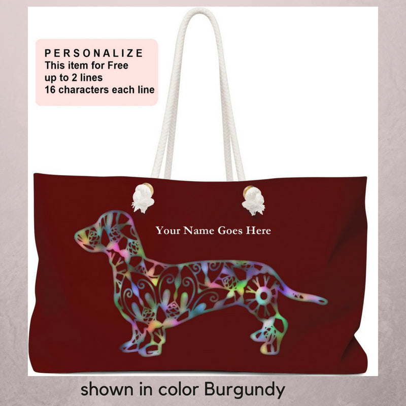 A Dachshund Weekender Bag - Color Burgundy - Oversized Tote – Free Personalization - Daisey's Doggie Chic