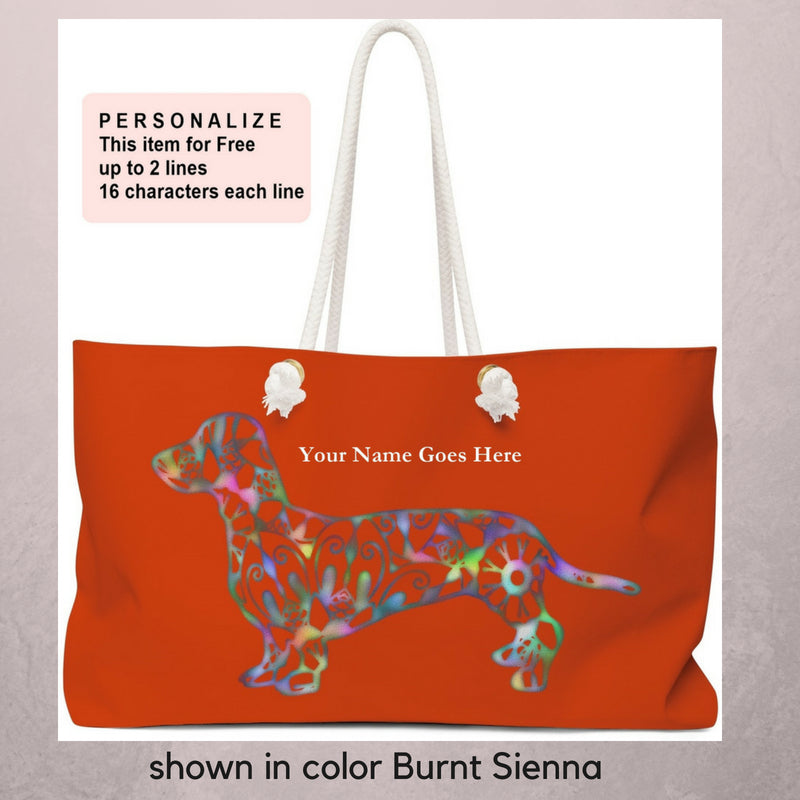 A Dachshund Weekender Bag - Color Burnt Sienna  - Oversized Tote – Free Personalization - Daisey's Doggie Chic