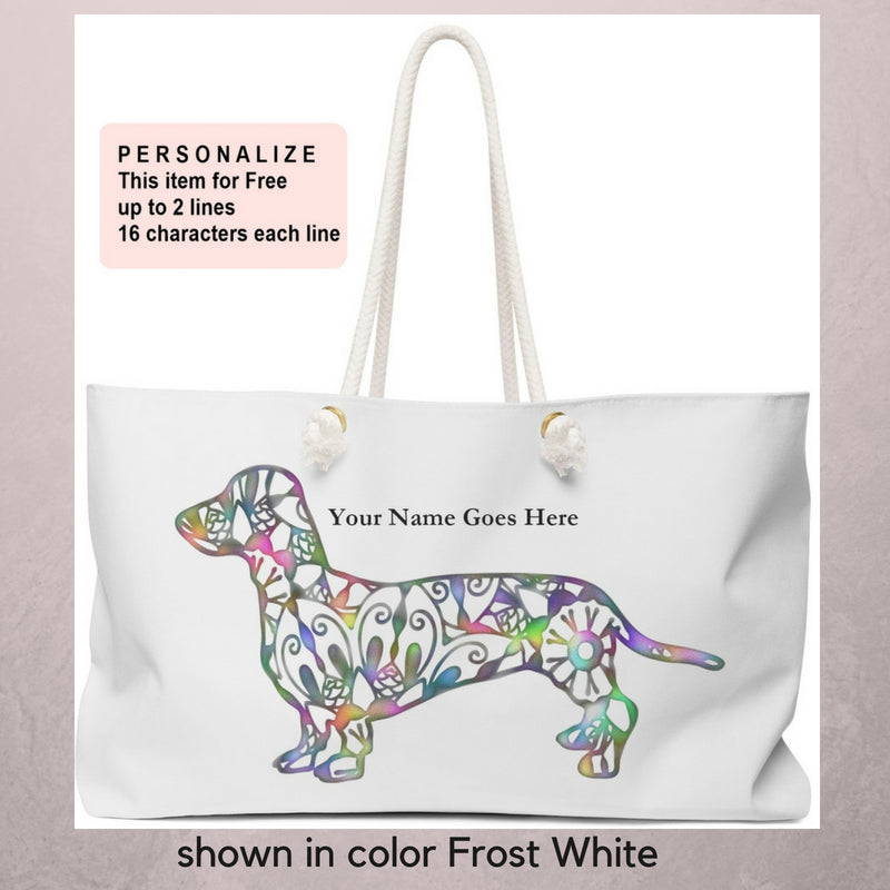 A Dachshund Weekender Bag - Color Frost White - Oversized Tote – Free Personalization - Daisey's Doggie Chic