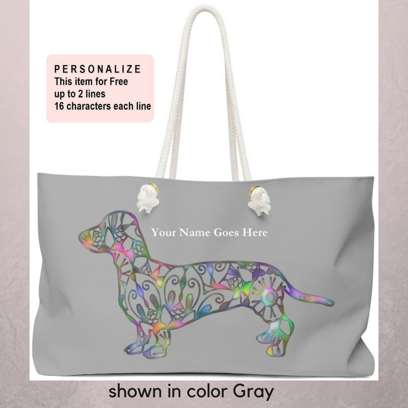 A Dachshund Weekender Bag - Color Gray - Oversized Tote – Free Personalization - Daisey's Doggie Chic