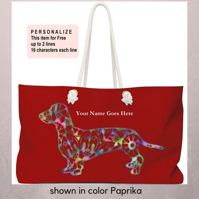 A Dachshund Weekender Bag - Color Paprika  - Oversized Tote – Free Personalization - Daisey's Doggie Chic