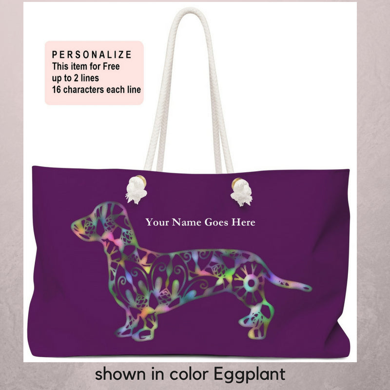 A Dachshund Weekender Bag - Color Eggplant - Oversized Tote – Free Personalization - Daisey's Doggie Chic