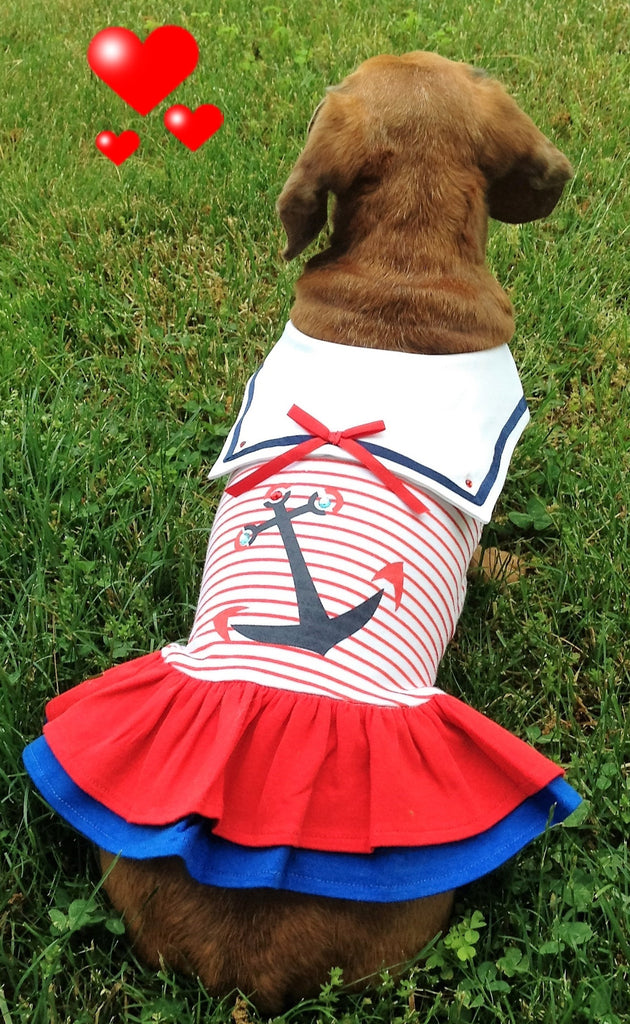 Sweet Sailor Ruffle Skirted Tank Dress in Nautical Red - Daisey's Doggie Chic - 2
