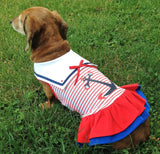 Sweet Sailor Ruffle Skirted Tank Dress in Nautical Red - Daisey's Doggie Chic