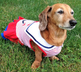 Sweet Sailor Ruffle Skirted Tank Dress in Nautical Red - Daisey's Doggie Chic - 4