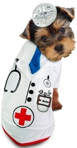 Doctor Barker Doctor's Uniform with Mirror Reflector Headband  - Dog Costume - Daisey's Doggie Chic