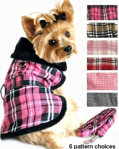 Doggie Design Plaid Minky Fur Harness Jacket with Matching Leash in 6 colors - Daisey's Doggie Chic - 1