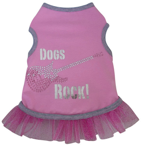"""Dogs Rock"" Metallic Guitar Tank Dress in color Pink/Silver - Daisey's Doggie Chic"