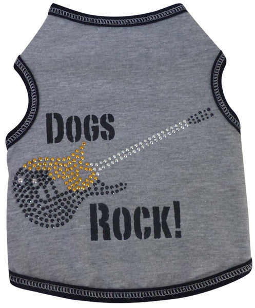 Dogs Rock Guitar Themed Tank in color Gray/Black - Daisey's Doggie Chic