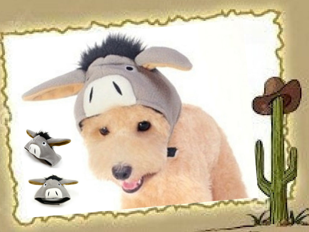 Plush Gray Charmed Donkey Hat with Floppy Ears for Dogs - Sizes XS to XL - Daisey's Doggie Chic