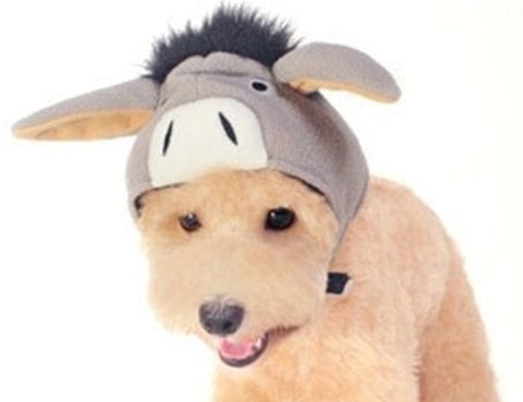 Plush Gray Donkey Hat with Floppy Ears for Dogs - Daisey's Doggie Chic