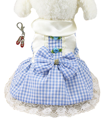 Dorothy Wizard of Oz Dog Costume in Gingham Check and Ruby Red Slippers Charm - Daisey's Doggie Chic