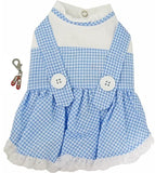 "Dorothy ""Wizard of Oz"" Dog Costume Dress includes 1 Ruby Red Slippers Charm - Color Blue Gingham Check - Daisey's Doggie Chic"