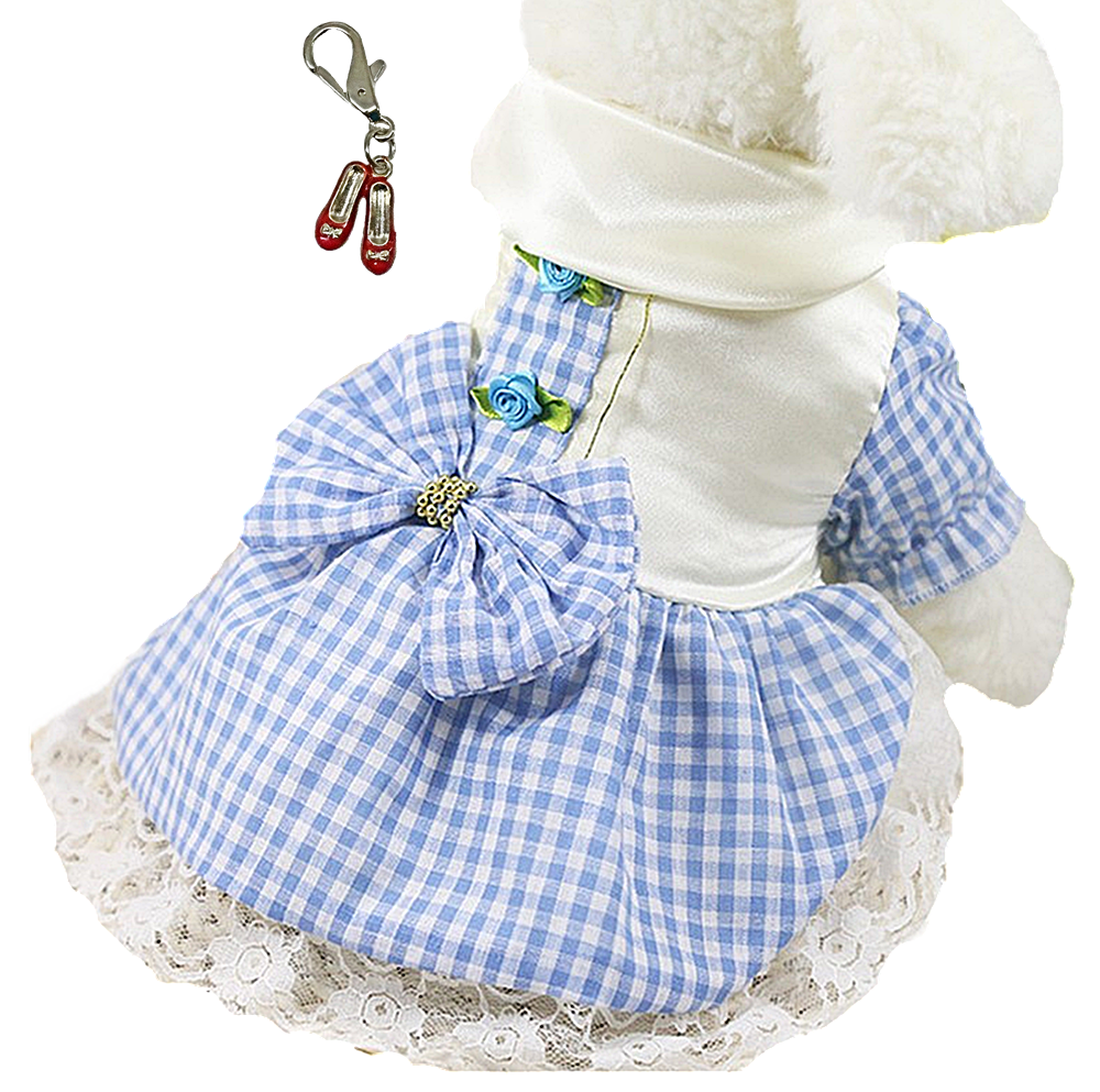 Dorothy Wizard of Oz Dog Costume in Blue White Gingham Check and Ruby Red Slippers Charm - Daisey's Doggie Chic