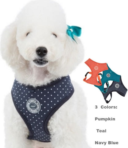 Dotty II Polka Dots Choke-Free Halter Harness in 3 Colors - Pumpkin, Teal or Navy Blue