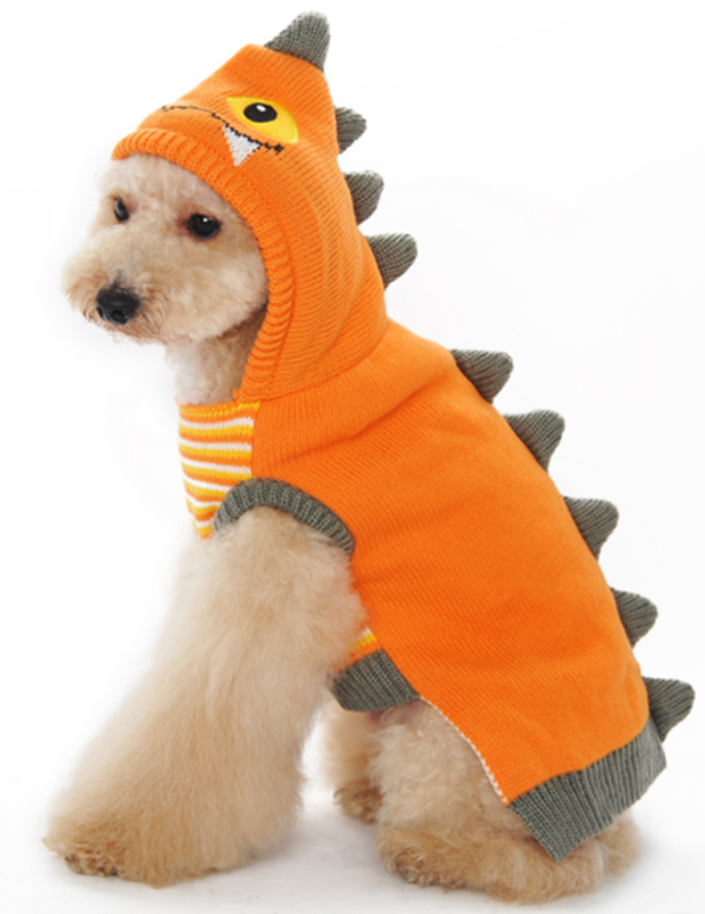 Scaly Dragon Themed Hoodie Sweater in Color Pumpkin - Daisey's Doggie Chic