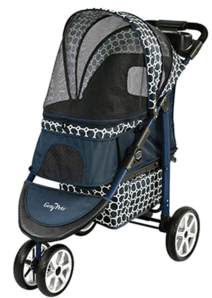 Monaco Pet Stroller  - available in 2 color patterns - Blue or Black - Gen7Pet - Daisey's Doggie Chic