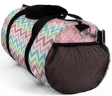 Exclusive Custom Art Duffel Colorful Country Stripes and Pink Polka Dots -  Choose Color & Size - personalize - Daisey's Doggie Chic