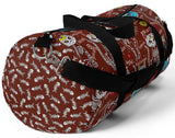 Exclusive Cat Art Duffel Bag - Spooky Skeletal Cats & Fish Bones - Sugar Skull Theme - Choice of Color & Size - personalize - Daisey's Doggie Chic