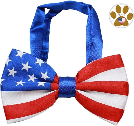 American Flag Bow Tie and Pin Set - Daisey's Doggie Chic