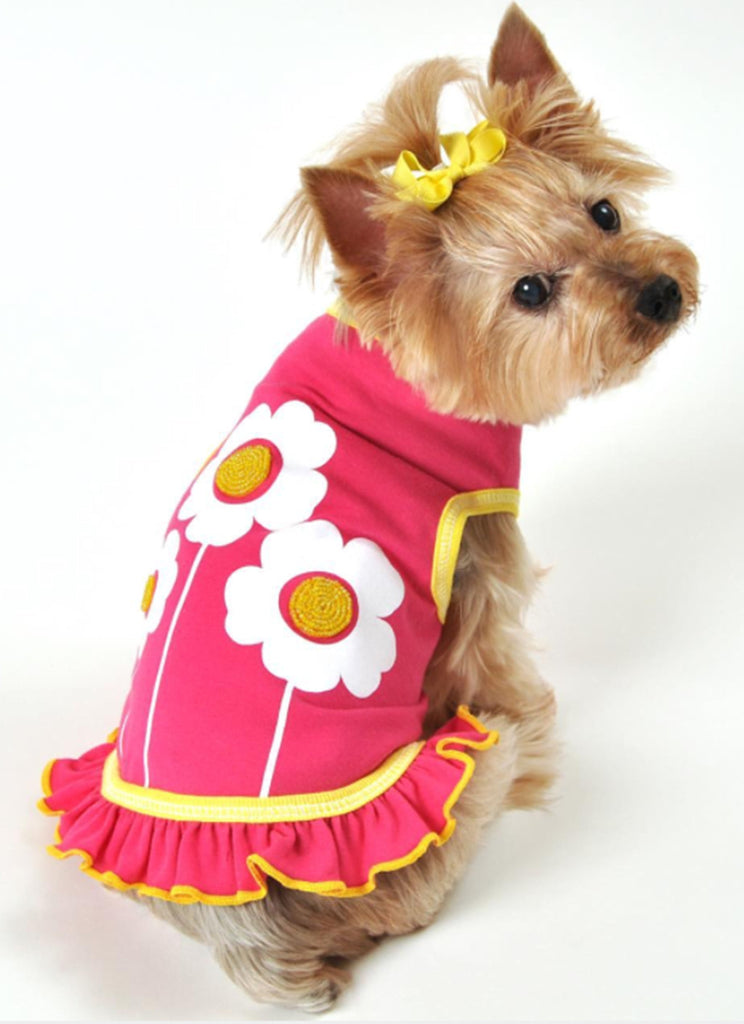 Happy Flowers Skirted Tank Dress in color Hot Pink - Daisey's Doggie Chic - 2