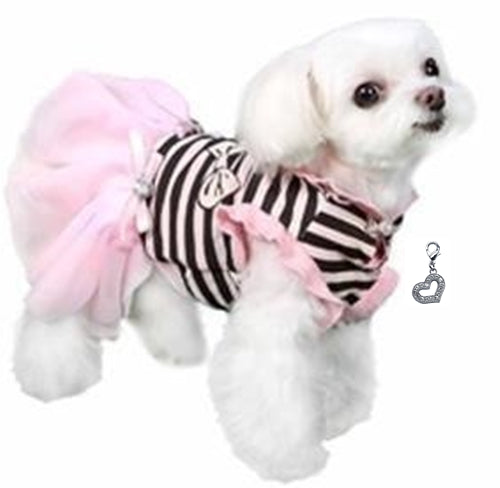 Darling Felicity Party Dress with Heart Charm - Color Pink/Black Stripes - Daisey's Doggie Chic