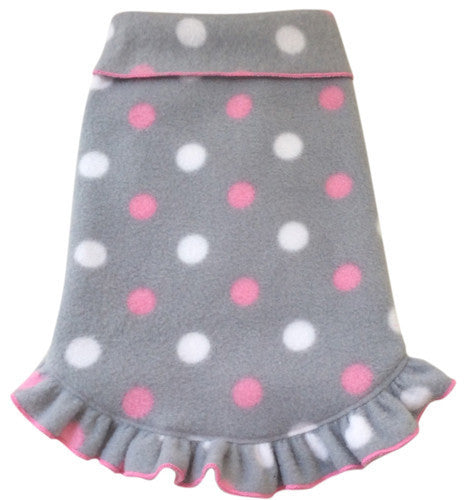 Cozy Fleece Pullover Tank Dress w/Ruffle Skirt in color Gray/Pink Dots - Daisey's Doggie Chic