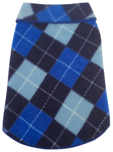 Cozy Blue Argyle Plaid Fleece Pullover Tank - Daisey's Doggie Chic