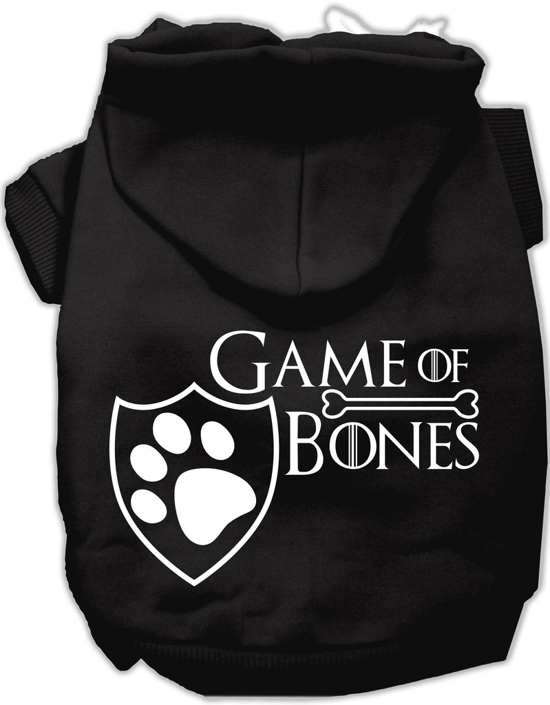 Game of Bones Dog's Fleece Hoodie in Color Black - Daisey's Doggie Chic