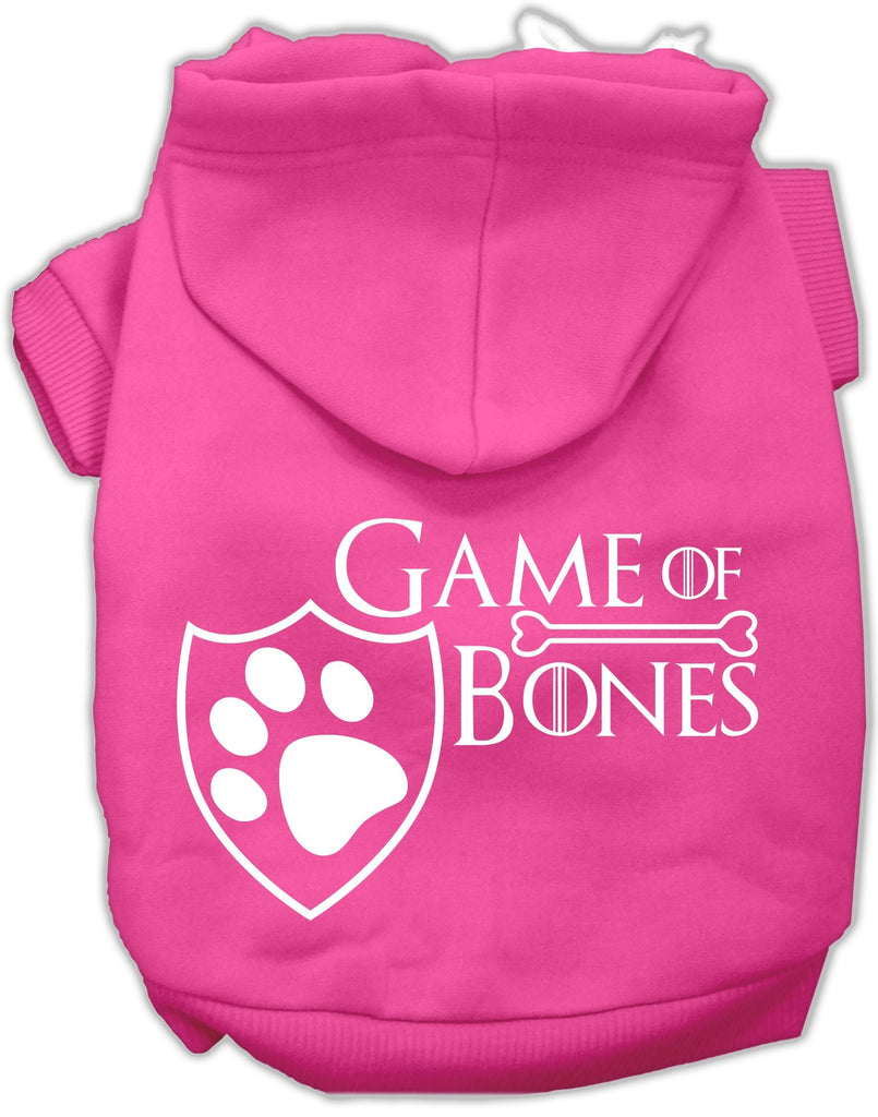Game of Bones Dog's Fleece Hoodie in Color Bright Pink - Daisey's Doggie Chic