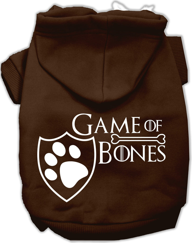 Game of Bones Dog's Fleece Hoodie in Color Dark Chocolate - Daisey's Doggie Chic