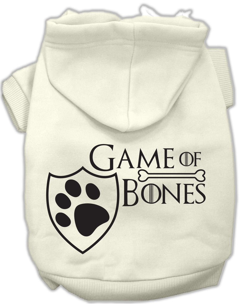 Game of Bones Dog's Fleece Hoodie in Color Winter White - Daisey's Doggie Chic