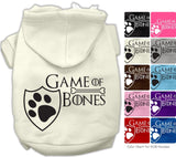 Game of Bones Dog's Fleece Hoodie in Color Heather Gray - Daisey's Doggie Chic