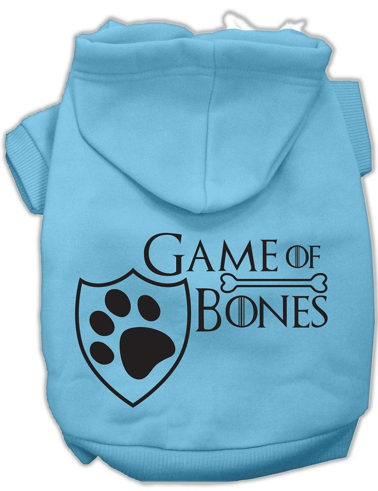 Game of Bones Dog's Fleece Hoodie in Color Light Blue - Daisey's Doggie Chic