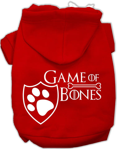 Game of Bones Dog's Fleece Hoodie in Color Red - Daisey's Doggie Chic