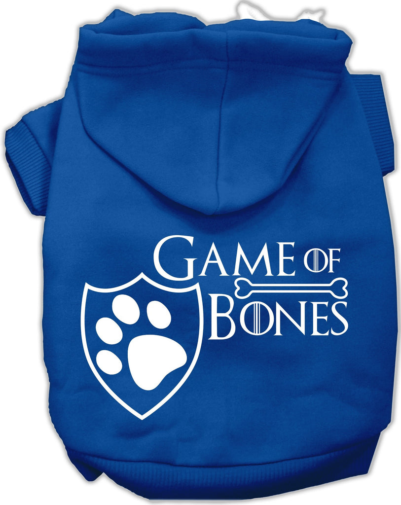 Game of Bones Dog's Fleece Hoodie in Color Royal Blue - Daisey's Doggie Chic