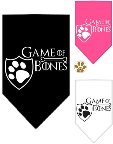 Game of Bones Bandana Scarf in 3 colors Black,Pink or White - Daisey's Doggie Chic - 1