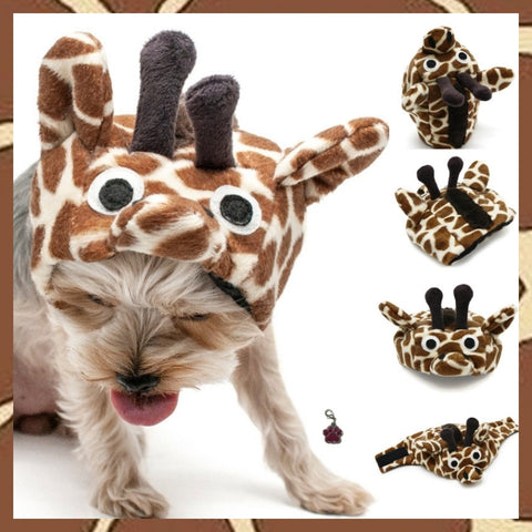 Plush Giraffe Full Character Hat with Mane - Includes Charm Accessory - Pet Sizes XS to XL - Daisey's Doggie Chic