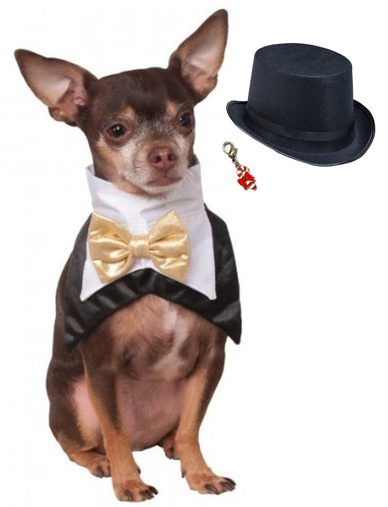 Bowtie Tux Vest look-a-like  Bandana Scarf with Charm and Top Hat - Daisey's Doggie Chic
