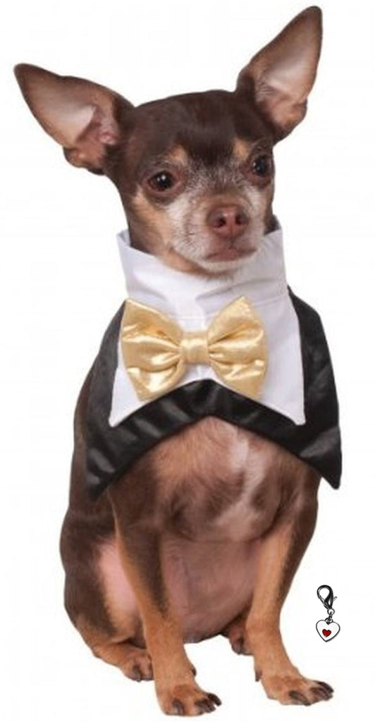 Bowtie Tux Vest look-a-like  Bandana Scarf with Heart Charm - Daisey's Doggie Chic