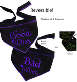 Good Witch Bad Witch Reversible Scarf in 2 color Choices- Purple or Green - Daisey's Doggie Chic - 1